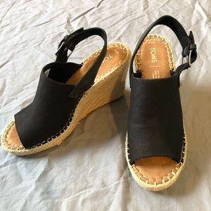 Toms Espadrille Wedge Buckle Strap Sandals 7.5